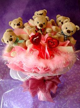 11 adet ayiciktan buket ayicik demeti  Çanakkale hediye sevgilime hediye çiçek