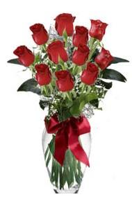 11 adet kirmizi gül vazo mika vazo içinde  Çanakkale İnternetten çiçek siparişi