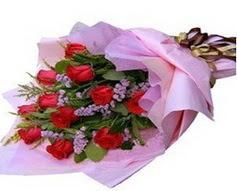 11 adet kirmizi güllerden görsel buket  Çanakkale çiçekçiler