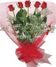 5 adet kirmizi gülden buket tanzimi  Çanakkale internetten çiçek siparişi