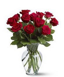 Çanakkale çiçekçiler  cam yada mika vazoda 10 kirmizi gül
