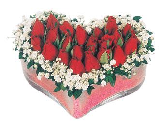 Çanakkale online çiçek gönderme sipariş  mika kalpte kirmizi güller 9