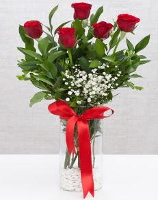 cam vazo içerisinde 5 adet kırmızı gül  Çanakkale online çiçekçi , çiçek siparişi