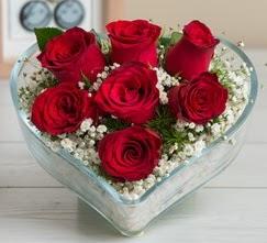 Kalp içerisinde 7 adet kırmızı gül  Çanakkale çiçekçiler