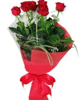 5 adet kırmızı gülden buket  Çanakkale çiçek , çiçekçi , çiçekçilik