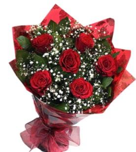 6 adet kırmızı gülden buket  Çanakkale hediye çiçek yolla