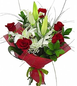 1 dal kazablanka 5 kırmızı gül buketi  Çanakkale çiçek , çiçekçi , çiçekçilik