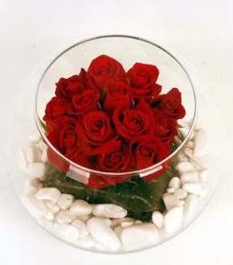 Cam fanusta 11 adet kırmızı gül  Çanakkale çiçek siparişi vermek