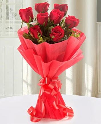 9 adet kırmızı gülden modern buket  Çanakkale internetten çiçek satışı