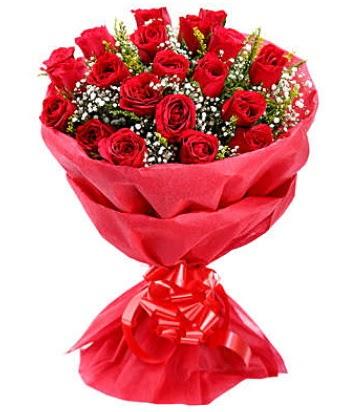 21 adet kırmızı gülden modern buket  Çanakkale çiçek siparişi vermek