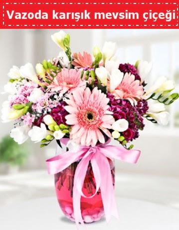 Vazoda karışık mevsim çiçeği  Çanakkale cicekciler , cicek siparisi