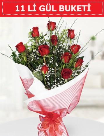 11 adet kırmızı gül buketi Aşk budur  Çanakkale çiçekçiler