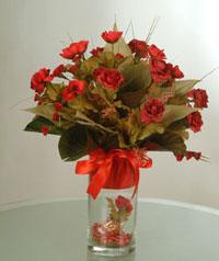 yapay güllerden vazo  9 gül  Çanakkale çiçek yolla , çiçek gönder , çiçekçi