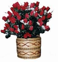 yapay kirmizi güller sepeti   Çanakkale çiçek , çiçekçi , çiçekçilik