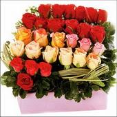 15 adet renkli gül ve cam   Çanakkale anneler günü çiçek yolla