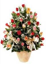 91 adet renkli gül aranjman   Çanakkale çiçekçiler