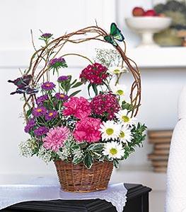 Çanakkale online çiçekçi , çiçek siparişi  sepet içerisinde karanfil gerbera ve kir çiçekleri