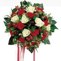 Çanakkale uluslararası çiçek gönderme  6 adet kirmizi 6 adet beyaz ve kir çiçekleri buket
