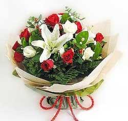 güller ve kazablanklardan görsel bir buket  Çanakkale çiçek online çiçek siparişi