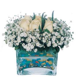Çanakkale anneler günü çiçek yolla  mika yada cam içerisinde 7 adet beyaz gül