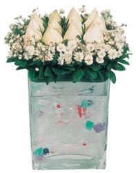 Çanakkale anneler günü çiçek yolla  7 adet beyaz gül cam yada mika vazo tanzim