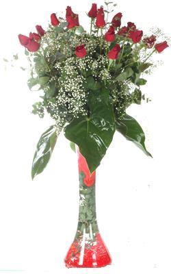 Çanakkale çiçek yolla , çiçek gönder , çiçekçi   19 ADET GÜL VE FIL CAM AYAGI