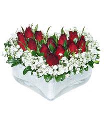 Çanakkale çiçek mağazası , çiçekçi adresleri  mika kalp içerisinde 9 adet kirmizi gül
