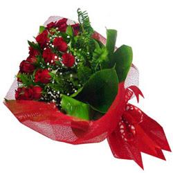 Çanakkale çiçek , çiçekçi , çiçekçilik  12 adet kirmizi essiz gül buketi - SEVENE ÖZEL