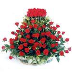 Çanakkale çiçek , çiçekçi , çiçekçilik  41 adet kirmizi gülden sepet tanzimi