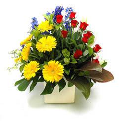 Çanakkale güvenli kaliteli hızlı çiçek  9 adet gül ve kir çiçekleri cam yada mika vazoda