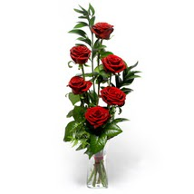 Çanakkale hediye sevgilime hediye çiçek  cam yada mika vazo içerisinde 6 adet kirmizi gül