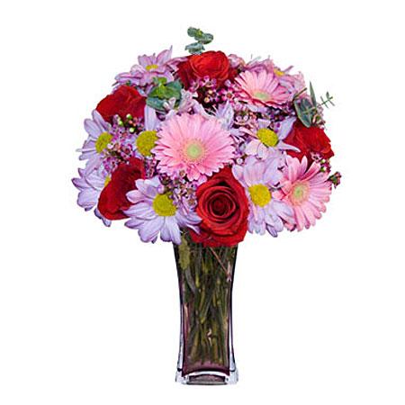 Görsel hediye karisik cam mevsim demeti  Çanakkale anneler günü çiçek yolla
