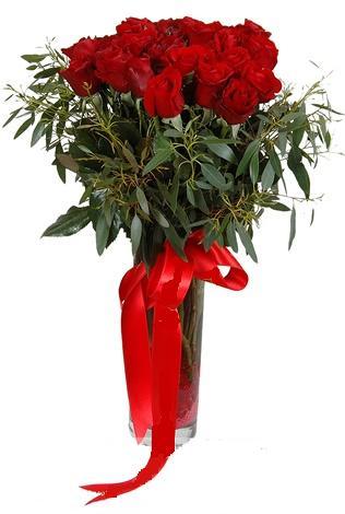 15 adet kirmizi gül cam vazo içerisinde  Çanakkale çiçek online çiçek siparişi