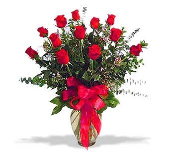çiçek siparisi 11 adet kirmizi gül cam vazo  Çanakkale güvenli kaliteli hızlı çiçek
