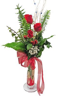 Çiçek gönderin cam vazoda 3 gül çiçekleri  Çanakkale hediye sevgilime hediye çiçek