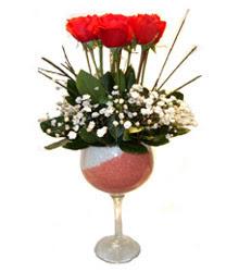 Çanakkale çiçek servisi , çiçekçi adresleri  cam kadeh içinde 7 adet kirmizi gül çiçek