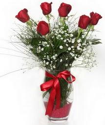 7 adet gülden cam içerisinde güller  Çanakkale İnternetten çiçek siparişi