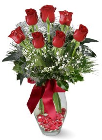 7 adet vazoda gül  Çanakkale çiçek online çiçek siparişi  kirmizi gül