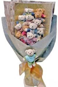 12 adet ayiciktan buket tanzimi  Çanakkale yurtiçi ve yurtdışı çiçek siparişi