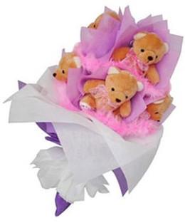 9 adet ayiciktan buket  Çanakkale çiçek yolla