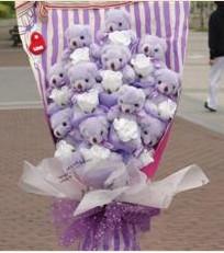 11 adet pelus ayicik buketi  Çanakkale çiçekçiler