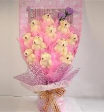 11 adet pelus ayicik buketi  Çanakkale internetten çiçek siparişi