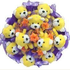 11 adet pelus ayicik buketi  Çanakkale çiçek satışı