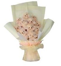 11 adet pelus ayicik buketi  Çanakkale uluslararası çiçek gönderme