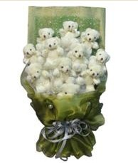 11 adet pelus ayicik buketi  Çanakkale güvenli kaliteli hızlı çiçek