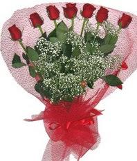 7 adet kipkirmizi gülden görsel buket  Çanakkale çiçek satışı