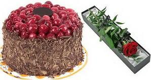 1 adet yas pasta ve 1 adet kutu gül  Çanakkale çiçek yolla , çiçek gönder , çiçekçi