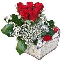 Çanakkale ucuz çiçek gönder  kalp mika içerisinde 7 adet kirmizi gül