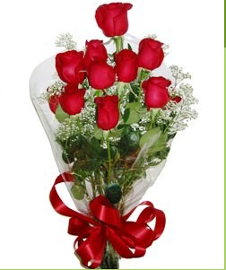 Çanakkale çiçek yolla , çiçek gönder , çiçekçi   10 adet kırmızı gülden görsel buket
