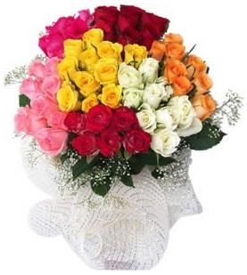 Çanakkale online çiçek gönderme sipariş  51 adet farklı renklerde gül buketi